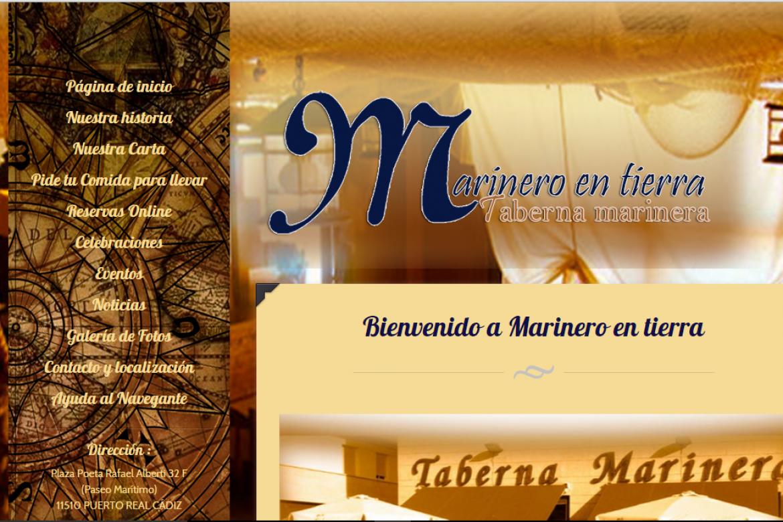 diseño web para restaurante taberna marinero en tierra